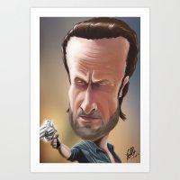 rick grimes Art Prints featuring Rick Grimes by Carrillo Art Studio
