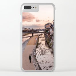 Evening walk along the Kamo River in Kyoto Clear iPhone Case
