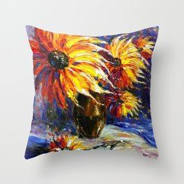 Oil painting Fire Flowers Throw Pillow