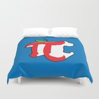 pi Duvet Covers featuring Apple Pi by Tom Burns