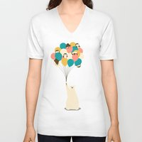 penguin V-neck T-shirts featuring Penguin Bouquet by Jay Fleck