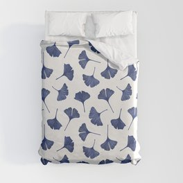 Blue Ginkgo Biloba Pattern Duvet Cover