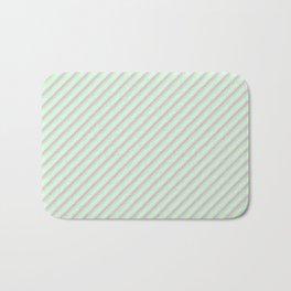 Pastel Tones Inclined Stripes Bath Mat