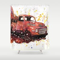 ford Shower Curtains featuring 1950 ford truck by Beth Jorgensen