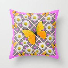 Yellow Butterfly on Lilac-pink Shasta Daisy Grey Pattern Throw Pillow