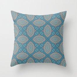 Tribal Tile Blue Throw Pillow