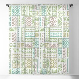 Polynesia Geometric Tapa Cloth - Earth Colors Sheer Curtain