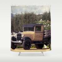 truck Shower Curtains featuring Tulip Truck by Manda's Photography