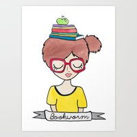 bookworm Art Prints featuring Bookworm by Shawna Miller