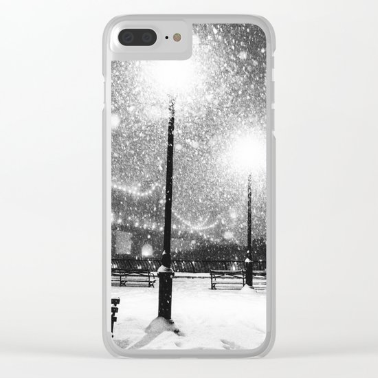 New York City Night Snow Clear iPhone Case