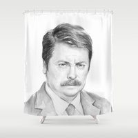 ron swanson Shower Curtains featuring Ron  by Olechka