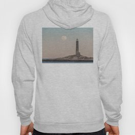 Pink moon rising over Thacher Island Hoody