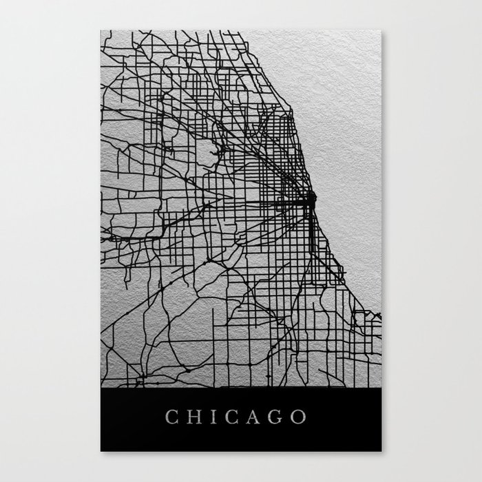 Chicago Map Canvas.Black And White Chicago Map Canvas Print By Dairinne Society6