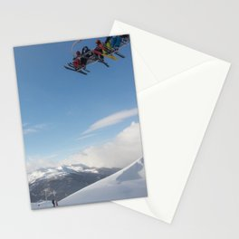 Skiers on chairlift 2 Stationery Cards