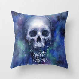 Sweet Dreams Skull in Space Throw Pillow