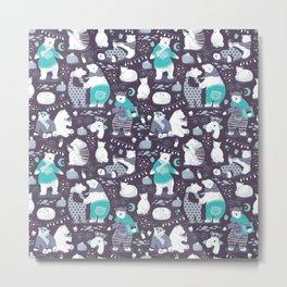 Arctic bear pajamas party Metal Print