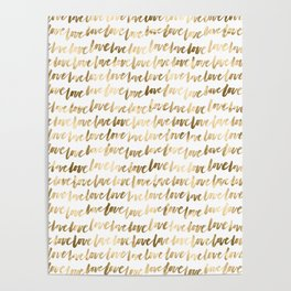 Gold Love Quote Pattern Typography Script 3 Poster