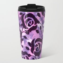 Black  Flowers and messy pink Travel Mug