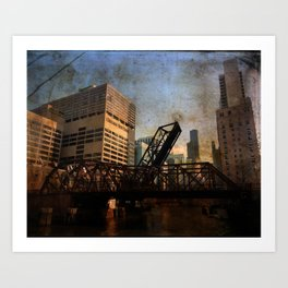 Chicago Skyline Chicago River Drawbridge Art Print