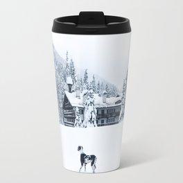 Wild Harlequin Great Dane in Snow Travel Mug