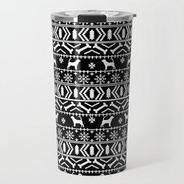 Bloodhound fair isle christmas sweater black and white minimal dog silhouette holiday gifts Travel Mug