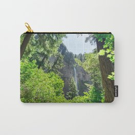 View of Multnomah Falls surrounded by forest in Oregon Carry-All Pouch
