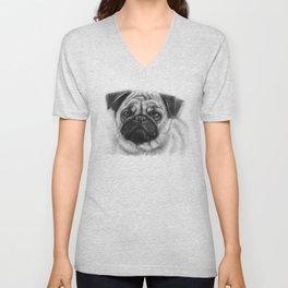 Cute Pug Dog Animal Pugs Portrait Unisex V-Neck
