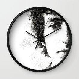 Bob Dylan portrait 02 Wall Clock