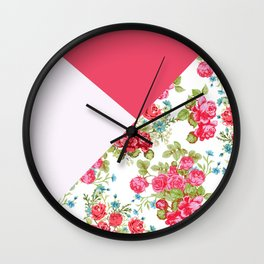 Geometric pink red white roses floral color block pattern Wall Clock