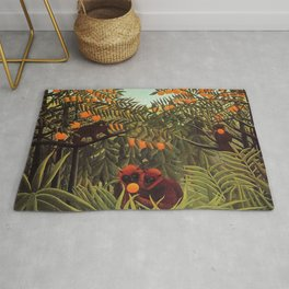 Apes in the Orange Grove by Henri Rousseau 1910 // Colorful Jungle Animal Landscape Scene Rug