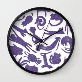 Ultra Violet Cats Wall Clock