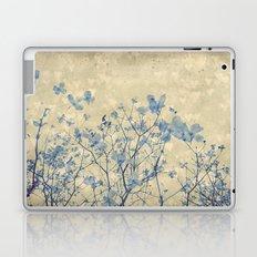Vintage Duotone Indigo Blue and Cream Spring Dogwood Branches Laptop & iPad Skin