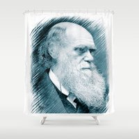 darwin Shower Curtains featuring Charles Darwin by Zandonai