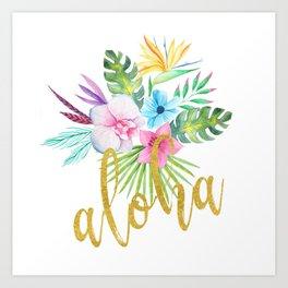Hawaiian multicolored floral bouquet with faux gold aloha brush script Art Print