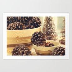pinecones in yellow ware Art Print