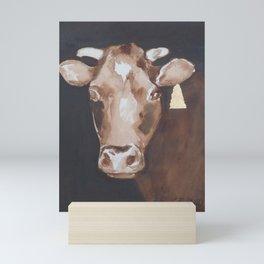 Gold Earring - Cow portrait Mini Art Print