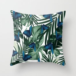 Tropical Butterfly Jungle Leaves Pattern #1 #tropical #decor #art #society6 Throw Pillow
