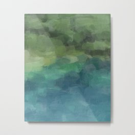 Aqua Blue Green Forest Lake Abstract Wall Art, Painting Art, Blue Pool Oregon Print Metal Print