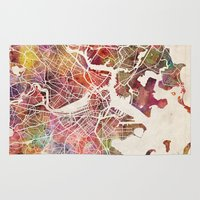 boston Area & Throw Rugs featuring Boston by MapMapMaps.Watercolors
