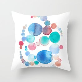 Blue and crimson abstract watercolour painting Throw Pillow