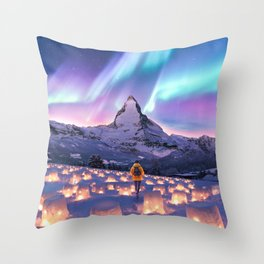Snow Lanterns Throw Pillow