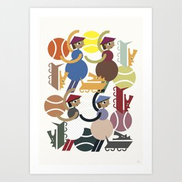 Women and dogs Art Print