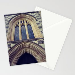 Old English church vintage print . Stationery Cards