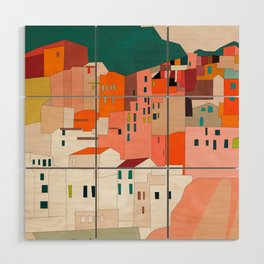 italy coast houses minimal abstract painting Wood Wall Art