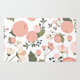 Pink Flower Pattern Rug