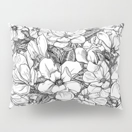 Magnolia Flower Line Art Floral Graphic Print Black and White Drawing Pillow Sham