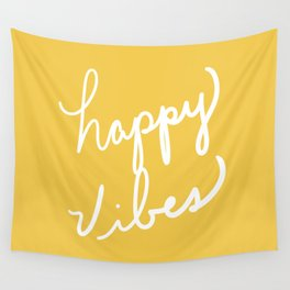Happy Vibes Yellow Wall Tapestry