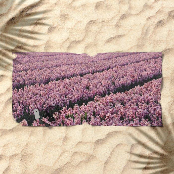 Hyacinth field Beach Towel