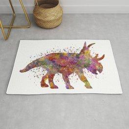Diabloceratops dinosaur in watercolor Rug