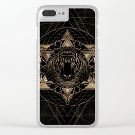 Tiger in Sacred Geometry Composition - Black and Gold Clear iPhone Case